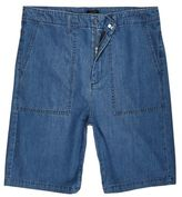 River Island Mid Blue Wash Wide Leg Denim Worker Shorts