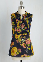 ModCloth On Your Roam Time Cotton Tunic in Navy Fleurs in XS