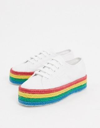 Superga 2790 rainbow espadrille flatform sneakers in white