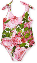 Dolce & Gabbana Floral One-Piece Swimsuit, Pink, Size 3-24 Months