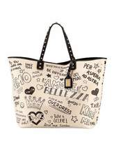 Dolce & Gabbana Graffiti Leather Tote Bag