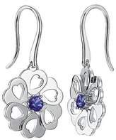Pierre Cardin Women'S Earrings 925 Sterling Silver Rhodium Plated Glass Zirconia La Fleur S.PCER90243A000 Blue