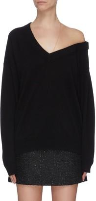 Alexander Wang Off-shoulder sheer panel asymmetrical sweater