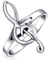 Bling Jewelry Sterling Silver Treble G Clef Music Note Ring 2mm Band