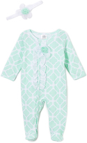 Baby Essentials Mint Lattice Floral-Accent Footie & Headband - Infant