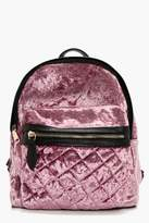 boohoo Sarah Crushed Velvet Quilted Rucksack