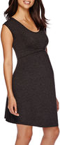Asstd National Brand Maternity Cap-Sleeve Twist-Front Dress-Plus