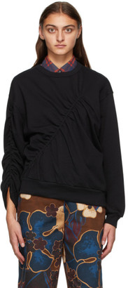 Dries Van Noten Black Ruched Sweatshirt