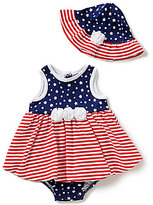 Little Me Baby Girls 3-12 Months Americana Stars/Striped Bodysuit & Hat Set