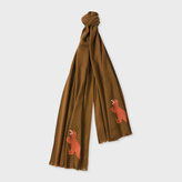 Paul Smith Men's Brown 'Dino' Embroidered Wool Scarf