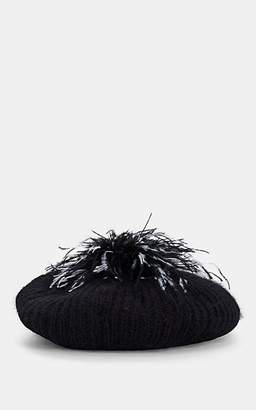 Eugenia Kim Women's Rochelle Feather-Pom-Pom Angora-Blend Beret - Black