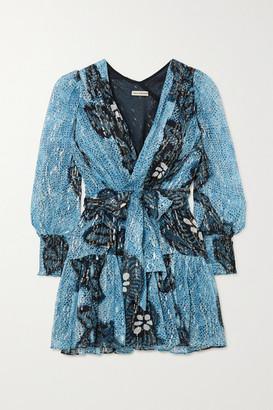 Ulla Johnson Noemi Wrap-effect Printed Fil Coupe Silk And Lurex-blend Mini Dress - Blue