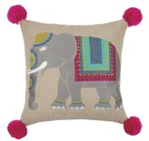 The Well Appointed House Embroidered Elephant Pillow With Pom Poms