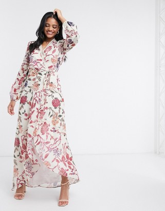 Hope & Ivy wrap front maxi dress with lace neckline in floral print