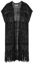 Alice + Olivia Dru Pointelle-knit Linen-blend Kimono - Black