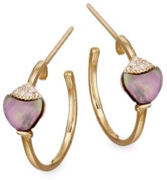 Mother of Pearl Grey Mother-Of-Pearl White & Brown Diamonds Hoop Earrings