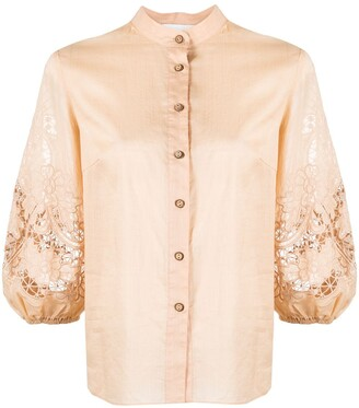 Zimmermann Puff-Sleeve Lace-Panelled Shirt