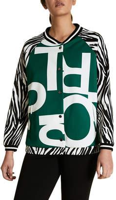 Marina Rinaldi Plus Size Graphic-Print Scuba Jersey Baseball Jacket