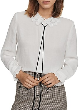Maje Cassidi Lace-Collar Crepe Shirt
