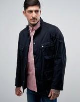 Barbour International Lockseam Biker Jacket Cotton Slim Fit In Navy