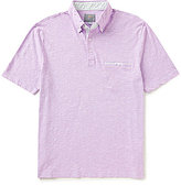 Thomas Dean Solid Heathered Short-Sleeve Polo Shirt