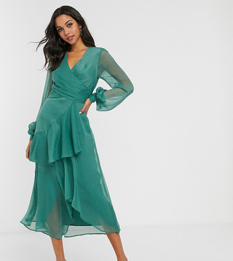 Asos Tall ASOS DESIGN Tall wrap waist midi dress with double layer skirt and long sleeve