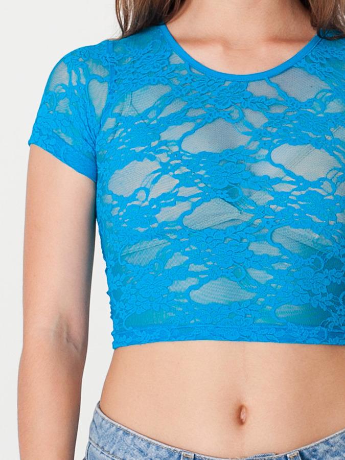 American Apparel Stretch Floral Lace Crop Top