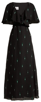 Valentino Crystal-embellished Silk Crepe De Chine Gown - Black Multi
