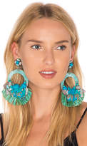 Ranjana Khan Floral Circle Earring in Turquoise.