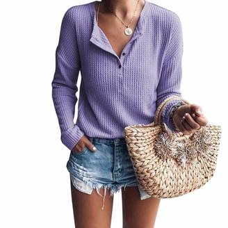 Yidarton Women's Casual Waffle Knit Tunic Loose Long Sleeve Tops Button Up V Neck Henley Shirts (3008-Purple L)