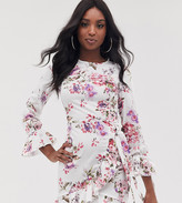 Parisian Tall floral mini dress with fluted sleeve detail