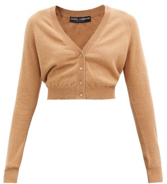 Dolce & Gabbana V-neck Cropped Cashmere Cardigan - Beige
