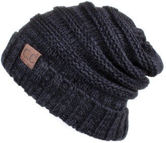 C.C Hatsandscarf Exclusive Unisex Oversized Slouchy Beanie (HAT-6242) (Black/Grey)