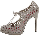 Cesare Paciotti Lace-Up Laser Cut Pumps