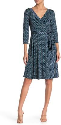 WEST KEI 3/4 Sleeve Faux Wrap Dress