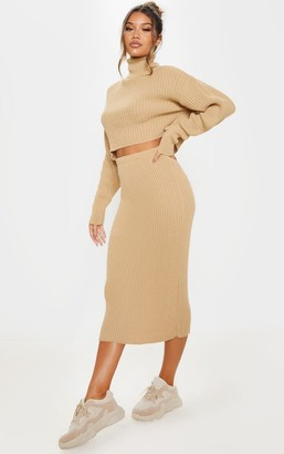 SWAGGER Stone Ribbed Knitted Midi Skirt