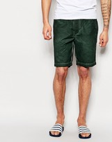 Asos Shorts In Dark Green Oil Wash With Elasticated Waist