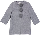 Marie Chantal GirlsHerringbone Pom Pom Coat