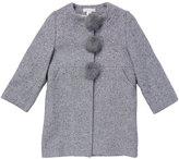 Marie Chantal Herringbone Pom Pom Coat