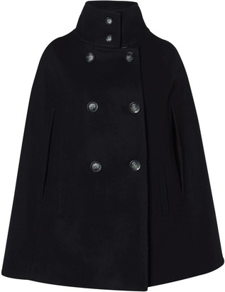 Allora Wool Cashmere Double Breasted Cape - Black