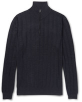 Dunhill - Herringbone Cashmere, Wool And Silk-blend Half-zip Sweater