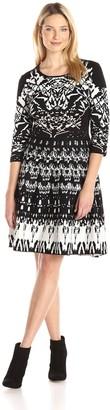 Gabby Skye Women's 3/4 Sleeved Aztec Printed Sweater Dress