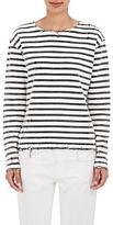 R 13 Women's Breton Distressed Knit Cotton Top-WHITE, BLACK, NO COLOR