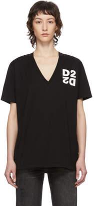 DSQUARED2 Black Logo V-Neck T-Shirt