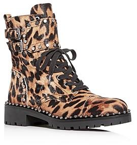 Sam Edelman Women's Jennifer Studded Leopard-Print Calf Hair Combat Boots - 100% Exclusive
