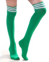 Swatom Women's Athletic Soccer Rugby Football Tube Sport Socks Over The Knee High Socks, /