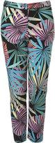 Tropical Leaf Print Cigarette Trousers