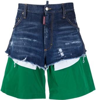 DSQUARED2 Distressed Layered Denim Shorts