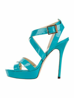 Jimmy Choo Patent Leather Sandals Blue