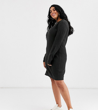Brave Soul Plus mando sweater dress in gray